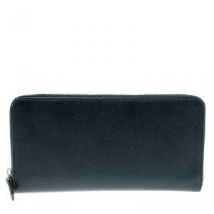 Prada Dark Blue Saffiano Leather Zip Around Agenda Cover