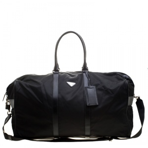 Prada Black Nylon and Saffiano Leather Trim Duffel Bag