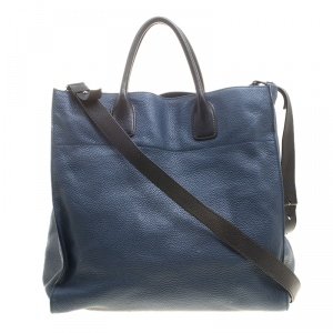 Prada Blue/Black Leather Tote