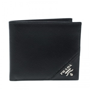 Prada Black Saffiano Leather  Bifold Wallet