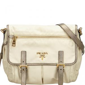 Prada Two Tone Tessuto Nylon and Leather Messenger Bag
