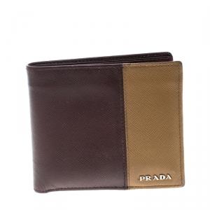 Prada Burgundy/Brown Saffiano Leather Bifold Wallet