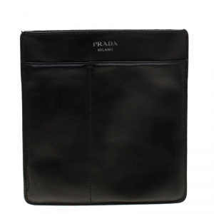 Prada Black  Saffiano Leather Messenger Bag