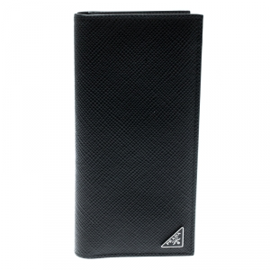 Prada Black Leather Bi Fold Card Holder
