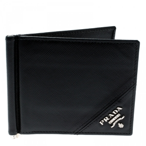 Prada Black Saffiano Leather Money Clip Bi-fold Wallet
