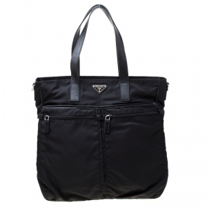 Prada Black Nylon and Leather Multipocket Tote