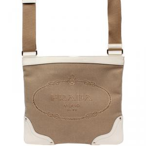 Prada Beige Nylon Shoulder Bag