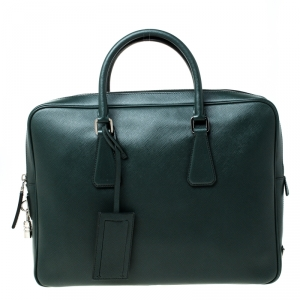 Prada Dark Green Leather Classic Laptop Bag