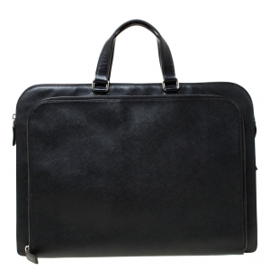 Prada Black Saffiano Leather Briefcase Laptop Bag