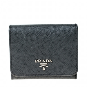 Prada Dark Grey Saffiano Leather Trifold Wallet