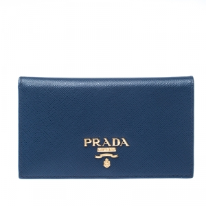 Prada Blue Saffiano Leather Bifold Card Wallet