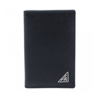 Prada Black Saffiano Lux Leather Bifold Card Holder