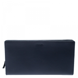 Prada Navy Blue Saffiano Leather Bifold Long Wallet