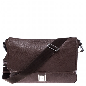 Prada Dark Brown Leather Push Lock Flap Messenger Bag