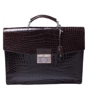 Prada Dark Brown Crocodile Briefcase