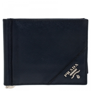 Prada Navy Blue Leather Money Clip Wallet