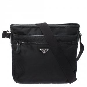 Prada Black Nylon and Leather Zip Messenger Bag