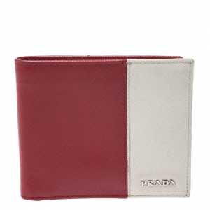 Prada Red/White Saffiano Leather Bifold Wallet