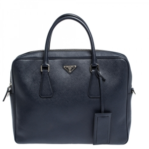 Prada Navy Blue Saffiano Lux Leather Briefcase
