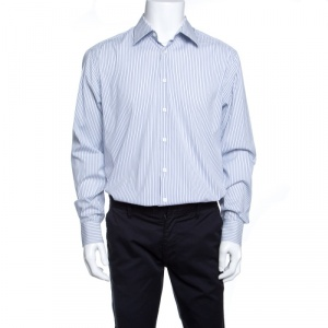Prada White and Blue Striped Button Front Long Sleeve Shirt XL