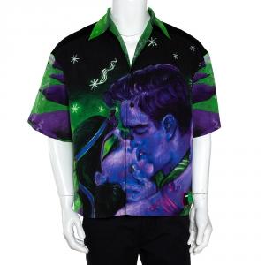 Prada Multicolor Impossible True Love Print Cotton Bowling Shirt M