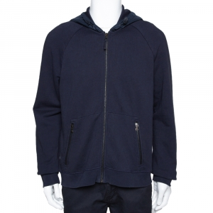 Prada Navy Blue Cotton Zip Front Hooded Sweatshirt L