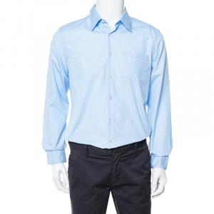 Prada Light Blue Cotton Button Front Long Sleeve Shirt XL