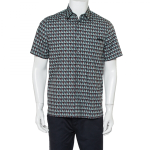 Prada Multicolor Printed Cotton Short Sleeve Shirt M
