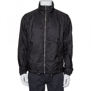Prada Black Synthetic Zip Front Reversible Jacket L