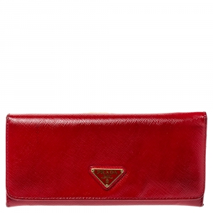 Prada Red Patent Saffiano Leather Long Flap Wallet