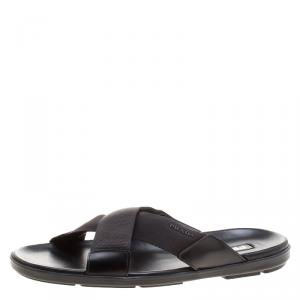Prada Black Leather and Nylon Criss Cross Flat Slides Size 46