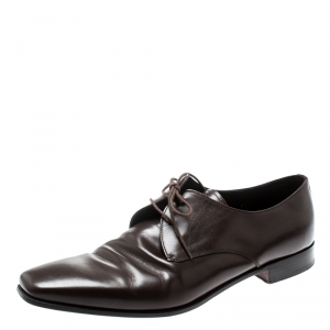 Prada Brown Leather Derby Oxfords Size 43.5