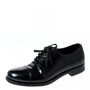 Prada Black Leather Lace Up Oxfords Size 41