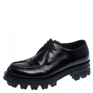 Prada Black Leather Lug Sole Lace Up Oxford Size 42