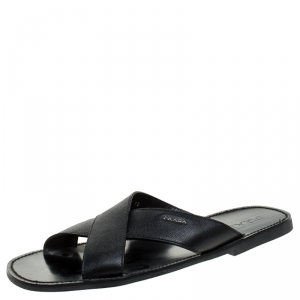 Prada Black Saffiano Leather Criss Cross Flat Slides Size 44