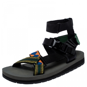 Prada Multicolor Nylon And Leather Azzurro Strap Sandals Size 41