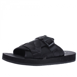 Prada Black Canvas And Nylon Strap Buckle Flat Slides Size 41