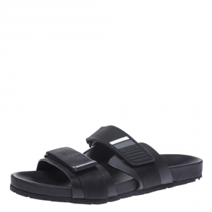 Prada Black Leather And Nylon Velcro Flat Slides Size 41