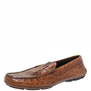 Prada Brown Croc Leather Driving Slip On Loafers Size 42