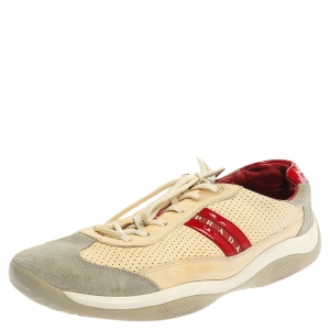 Prada Beige Perforated Leather And Suede Low Top Sneakers Size 46