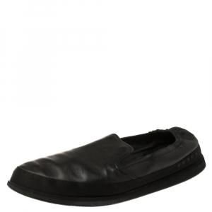 Prada Black Leather San Tropez Slip On Sneakers Size 46