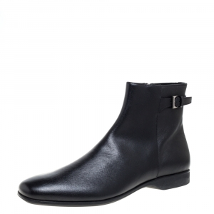 Prada Black Leather Square Toe Boots Size 46