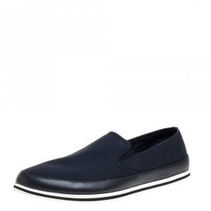 Prada Sports Blue Canvas And Leather Slip On Sneakers Size 42.5