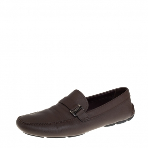 Prada Brown Leather Buckle Detail Slip On Loafers Size 44