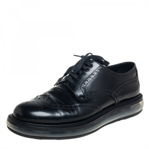 Prada Black Brogue Leather Air Sole Lace Up Derby Size 43.5