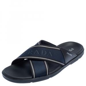 حذاء سلايدز برادا سيور متعاكسة تاب شعار نايلون وجلد أزرق مقاس 43