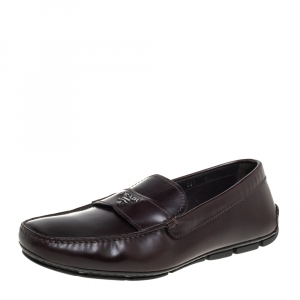 Prada Brown Leather Slip On Loafers Size 43