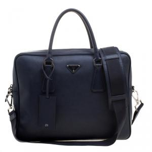 Prada Navy Blue Saffiano Leather Classic Laptop Bag
