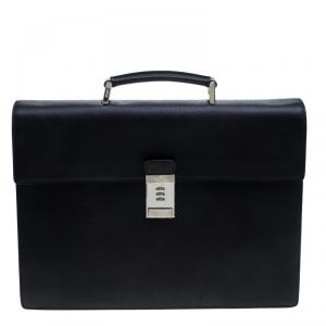 Prada Black Saffiano Cuir Leather Briefcase