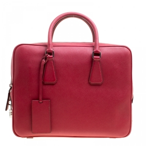 Prada Dark Red Saffiano Leather Travel Briefcase